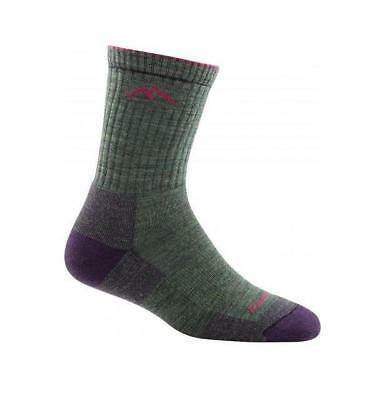 Darn Tough Women's Solid Micro Crew Cushion Socks, Moss Heather, M