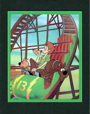 Scooby Doo Gang - SHAGGY SCOOBY & SCRAPPY on ROLLER ROLLER COASTER Matted PRINT