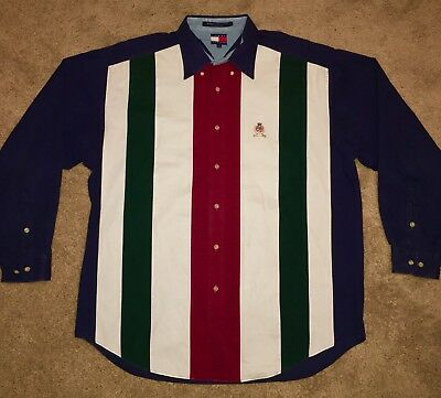 Vintage Tommy Hilfiger Striped Large long sleeve polo shirt rare 90s spellout