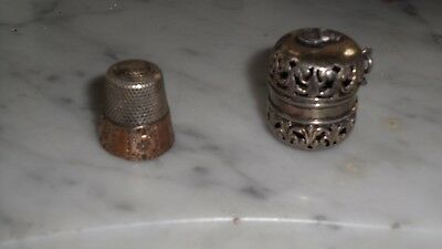Antique Sterling Silver Thimble and Case with pierced design-USN insignia