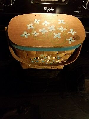Vintage Woven Hand Painted Basket,  Lunch, Sewing or Purse 1969