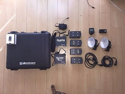 Elinchrom quadra RX premium Package used 2 heads, 4 batterys, transmitter + more