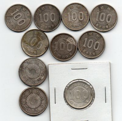 Japan Silver Coins Mostly 100 Yen (10 Coins)