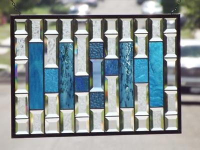 """• The Fine Line •Beveled Stained Glass Window Panel • 22 ¾"""" x 14 ¾"""" (58x38 cm)"""