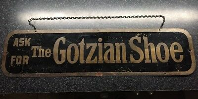 Vintage Ask For The Gotzian Shoe Window Sign With Original Chain