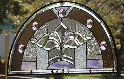 """•Pretty in Pink •Beveled Stained Glass Window Panel • 31 x16 ½"""" (79x42Cm)"""