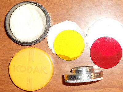 KODAK Series V Adapter Ring NO.18 WITH YELLOW & RED Filters + Case