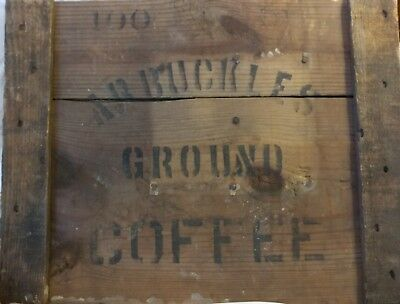 Arbuckles Ground Coffee Sign Memorabilia Wooden Crate Side