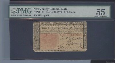 New Jersey Colonial 6 Shillings Note. Fr#NJ-178 March 25, 1776 PMG AU-55