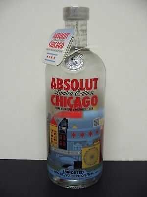 ABSOLUT CHICAGO 750ml Vodka Bottle-Limited Edition WIth Tag / By ROSS BRUGGINK