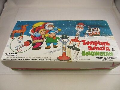 Vintage JUMPING SANTA & SNOWMAN with Candy Box with 13 Santa Figures EAGLE CANDY