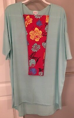 NWT LuLaRoe Outfit XL Solid Mint Irma & TC Hot Pink Background Floral Leggings