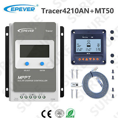 US STOCK EPEVER Tracer4210A 40A Solar Charge Controller + MT50