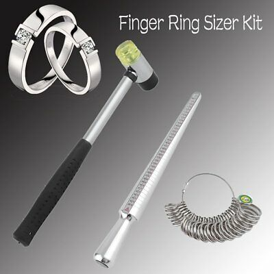 Size Stainless Steel Ring Stick Sizer Mandrel Finger Guage Measuring Hammer