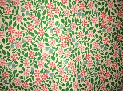 Vtg Cotton Quilt Fabric Pink Tulip Flower Floral 32x42 Inches