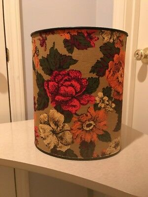Mid Century Vtg Metal Trash Can Waste Basket w/ Floral Fabric Cover
