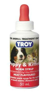 Troy Puppy & Kitten 50mls Meat Flavoured Wormer, Worm Syrup, Treats Round Worms