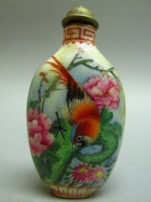 Chinese Flower Bird Pattern Hand Painted Porcelain Snuff Bottle