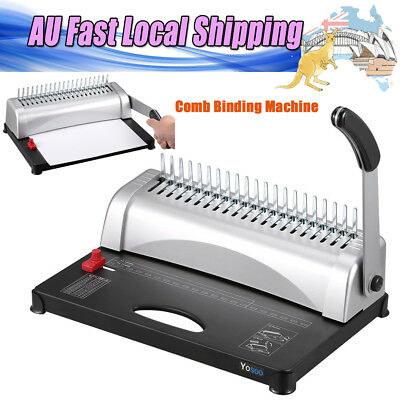 450 Sheets 21 Hole Home Office Paper Punch Binder Comb Binding Black Machine