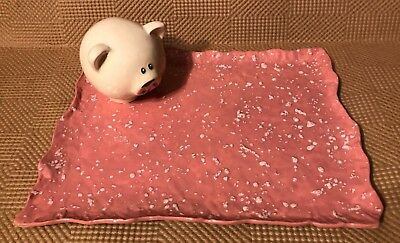 "Ceramic 11"" x 8"" Pig Platter - Houston Mini Pig Rescue & Network 100% Donation"