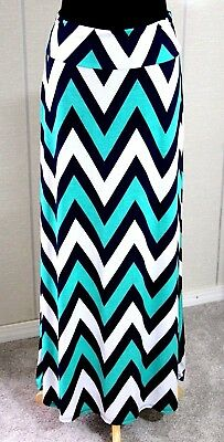 TOVIA Maternity NAVY BLUE GREEN WHITE CHEVRON ELASTIC WAIST MAXI SKIRT DRESS M/L