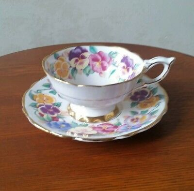 Royal Stafford Tea Cup And Saucer Viola Pansy Pattern Teacup