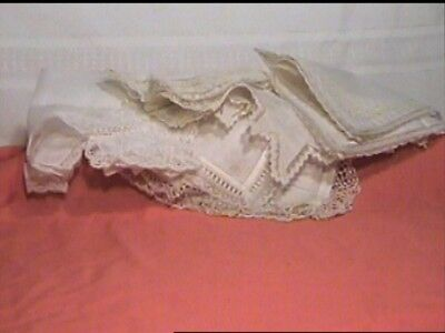 Antique Fine Lace Handkerchief Lot Of 6 Not Washed Or Pressed Handmade ?