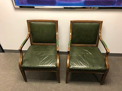 Set of 2 Vintage Baker Furniture Leather Chairs