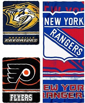 NHL Hockey Team Fade Away Soft & Cozy Polyester Fleece Throw Blankets 50 x 60in