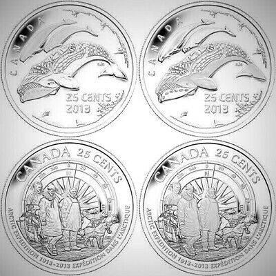Canada 2013 25 Cents First Arctic Expedition 4 Coin BU UNC Set!!
