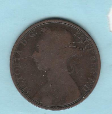 1891 Great Britain One penny- young head of Queen Victoria
