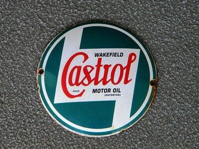 "Castrol Wakefield Porcelain Metal Sign ~4-3/4"" Motor Oil Advertising Gas Station"