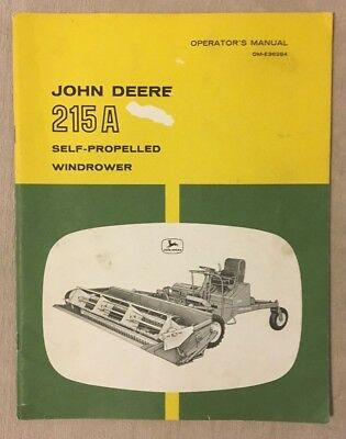 Vintage John Deere 215A Self-Propelled Windrower Operator's Manual OM-E36284