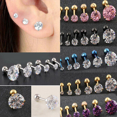 Stainless Steel Prong Tragus Cartilage Piercing Stud Earring Ear Ring Jewelry X2