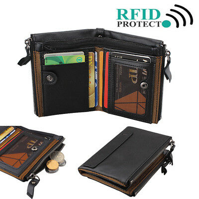Black 100% Genuine Mens Soft Leather Wallet Card Holder with Zip RFID Protection