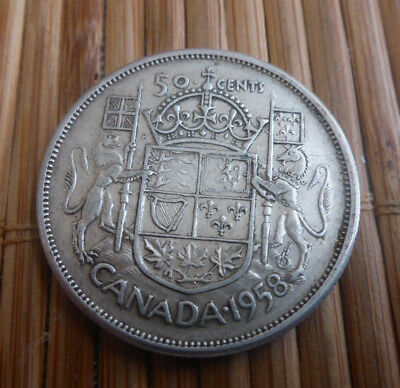 1958 Canada 50 Cent Coin - Queen Elizabeth Ii