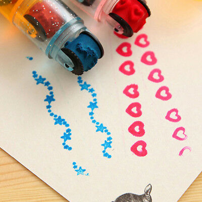 Seal Set Self Inking Stamps Cycle Roller Shape Kids Toy Gifts DIY Handmade Craft