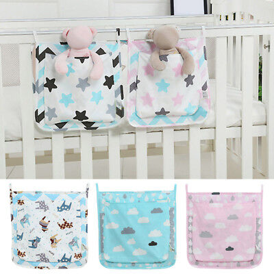 Newly Crib Storage Bag Cot Nursery Organiser Pouch Toy Napkin Sort Hanging Bag