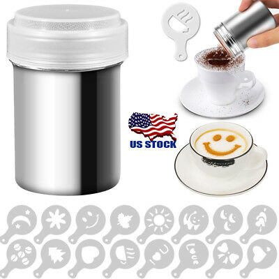 Stainless Chocolate Shaker Icing Sugar Powder Cocoa Flour Coffee Sifter Tool US
