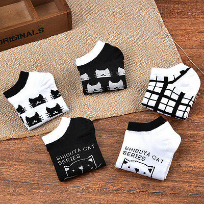 5 Pairs Fashion Women's Sport Casual Cute Cat Ankle High Low Cut Cotton Socks