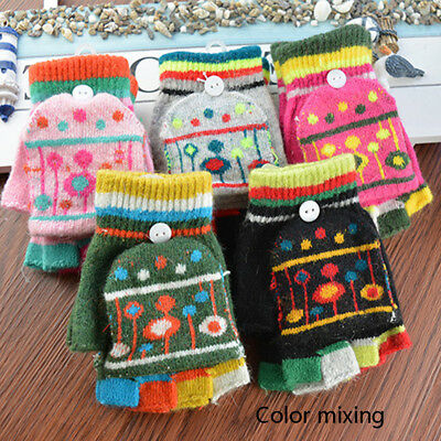 Toddler Baby Boy Girl Winter Warm Cashmere Mittens Kids Half Finger Flip Gloves