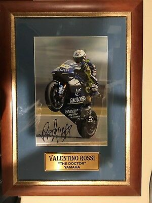 Valentino Rossi Yamaha moto gp SIGNED solid wood frame