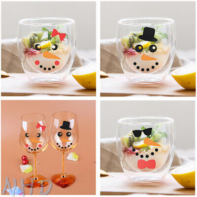 30 Snowman Face Hat Tie vinyl decals stickers Christmas Decorations wine glass