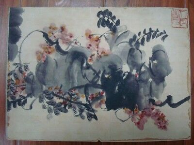 Rare Old Chinese Hand Painting Flowers Plants Book QiBaiShi Marks