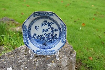 18th Century Chinese Blue and White Plate with Deer Repaired