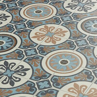 Moroccan Tile Effect Vinyl Flooring Lino Cushioned Sheet Roll