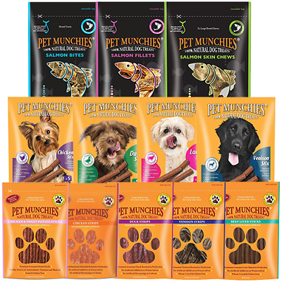 Pet Munchies 100% Natural Dog Puppy Food Real Meat Treats & Training Chews