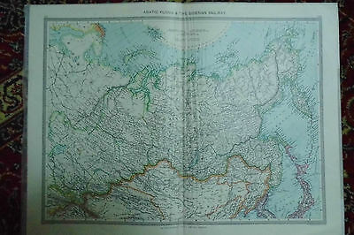 MAP Asiatic Russia & Siberian Railway London Geographic c1910 antique