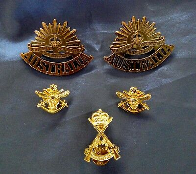 Australian Military Badges; Royal Victoria Regiment, Rising Suns, Collar Dogs.