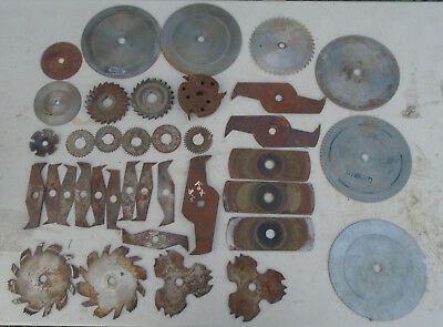 37 piece used saw blade collection stacked dado plywood shaper blades etc.